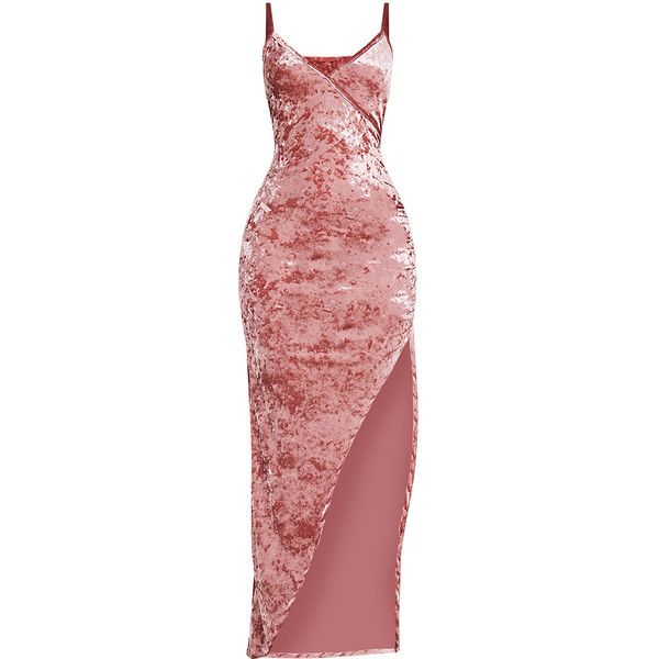 Sansia Pink Crushed Velvet Asymmetric Maxi Dress ❤ liked on Polyvore  featuring dresses 0f347d16d