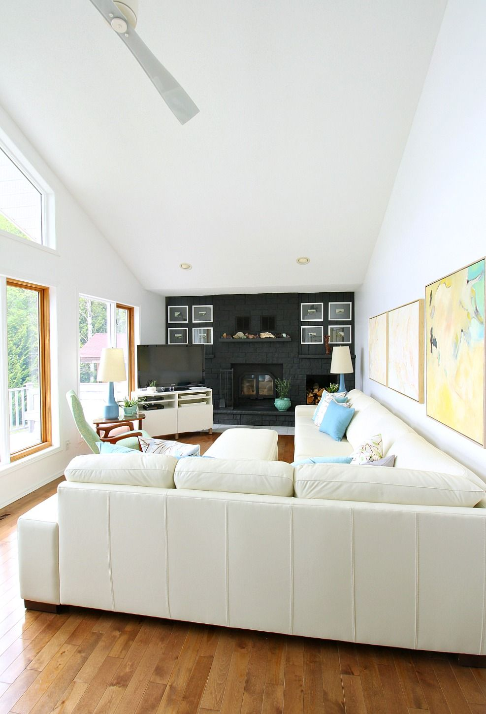 Rearranging the Living Room with Our Modern White Leather Sectional ...