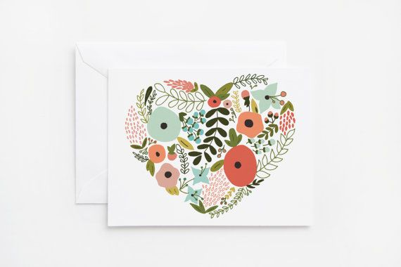 Floral Heart Illustrated Notecard Set | 8 Hand Illustrated Folded Cards