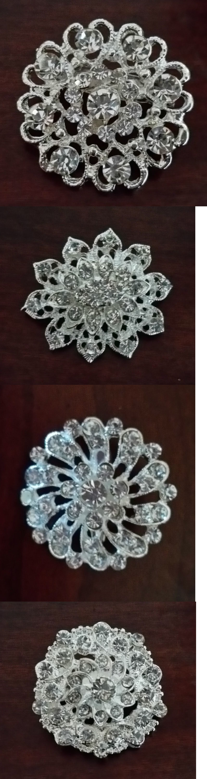 Buttons 7320: Lot Of 108 Assorted Crystal Rhinestone Brooches ...
