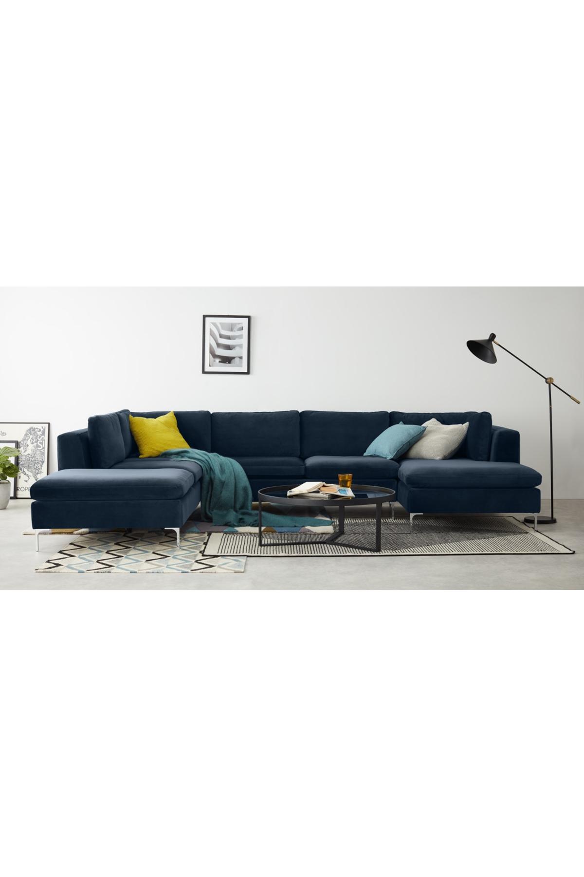 Monterosso Left Hand Facing Corner Sofa Sapphire Blue Velvet Blue Corner Sofas Corner Sofa Velvet Corner Sofa