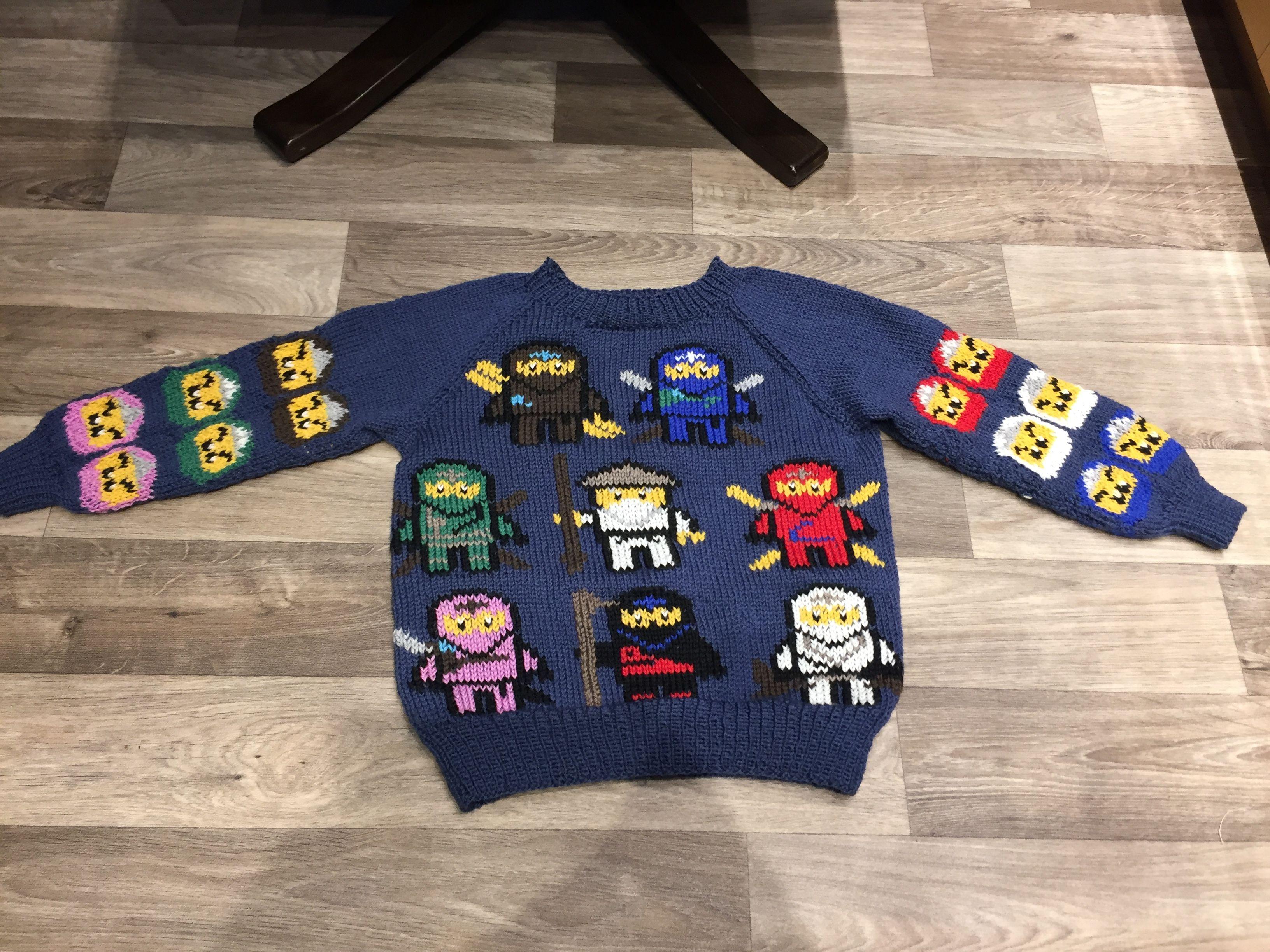 strikke ninjago genser