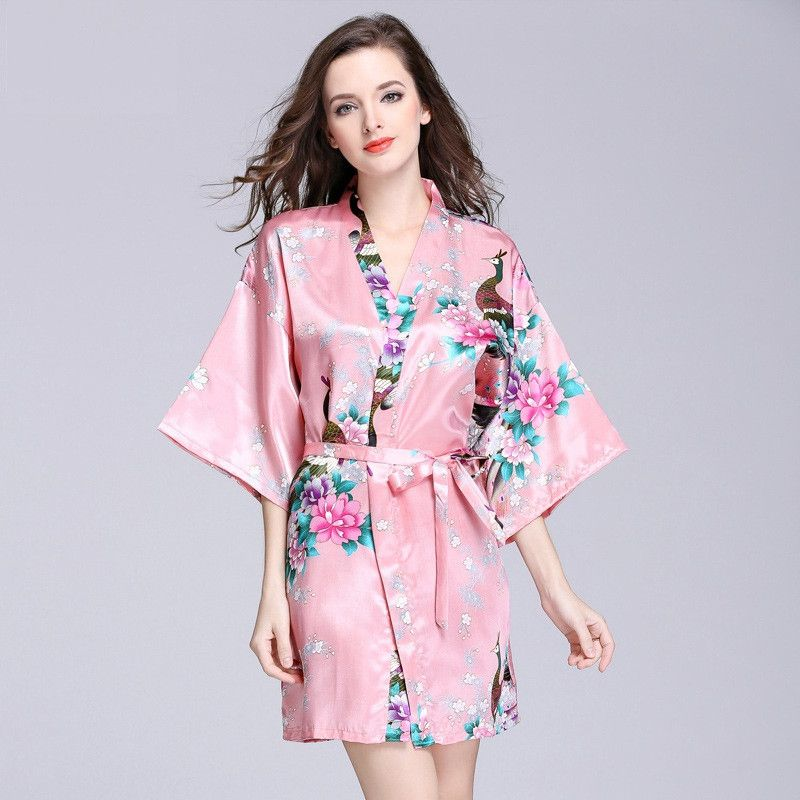 bdfb6706f8 2017 Sexy Robes Women Bath Robe Nightshirts Fashion Flowers Rayon Bathrobe  Nightie Short Sleeve Lady House Lounge Wear Mantle