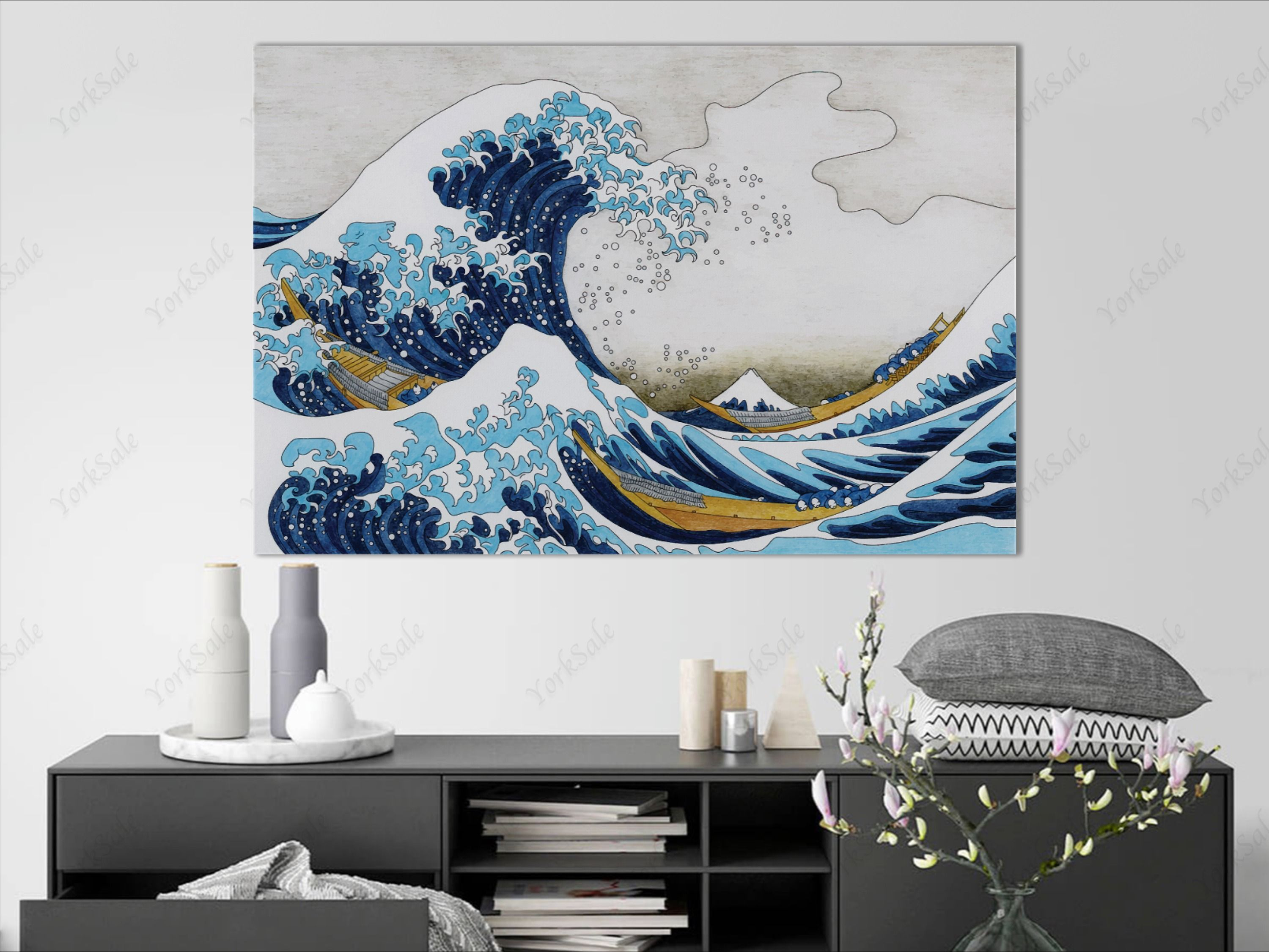 The Great Wave Off Kanagawa Wall Art Japanese Wave Vintage Etsy Canvas Decor Home Wall Decor Japanese Wave Painting