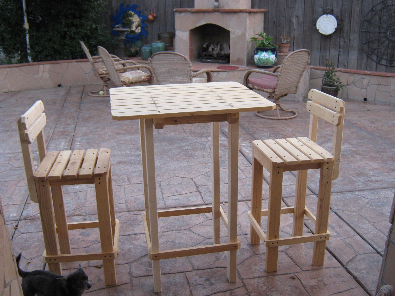 DIY Outdoor Furniture PLANS For Patio Lawn Or Garden   Bar Table And Stool  Set.