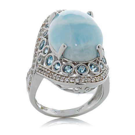 RaritiesLarimarBlueTopazandWhiteZirconRing Jewelry