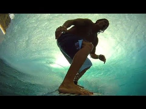 Pro Surfer Kalani Robb at Pipeline with the GoPro HD on his board