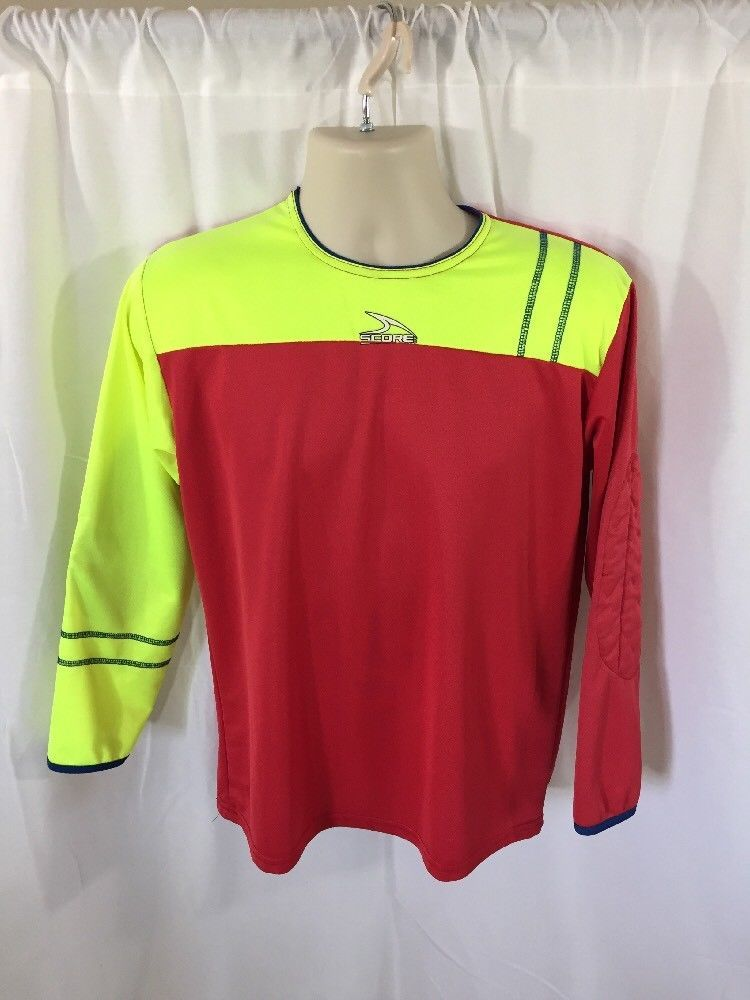 673271160 1 Stop Soccer Adult Goalkeeper Soccer Jersey Light Padded elbows. Score  American Soccer Jersey Padded Elbows Red Lime Green AS  SCORE  Jerseys