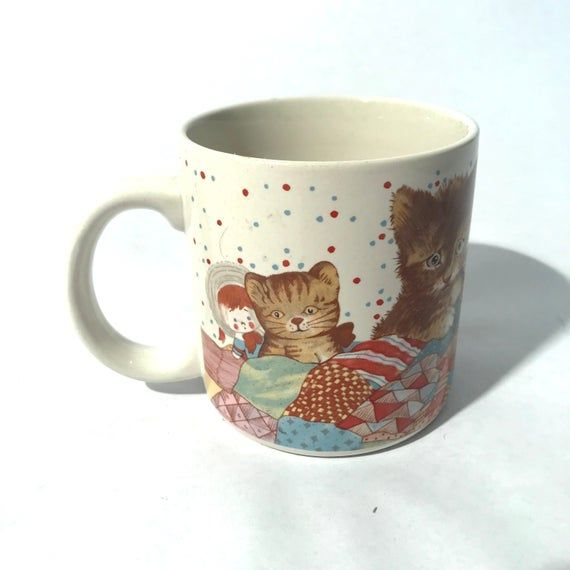 Vintage 1980s Super Cute White and Marmalade cat Mug by Tin Box Co. of America/Kittens/Teddy Bears/Q