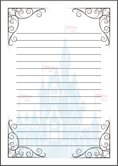 Fairy Tale Writing Paper Template A4 Cinderella Disney Themed