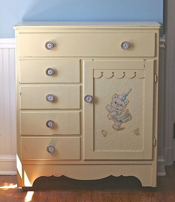 Vintage Nursery Childs Armoire Wardrobe Pale Yellow By Ivorybird