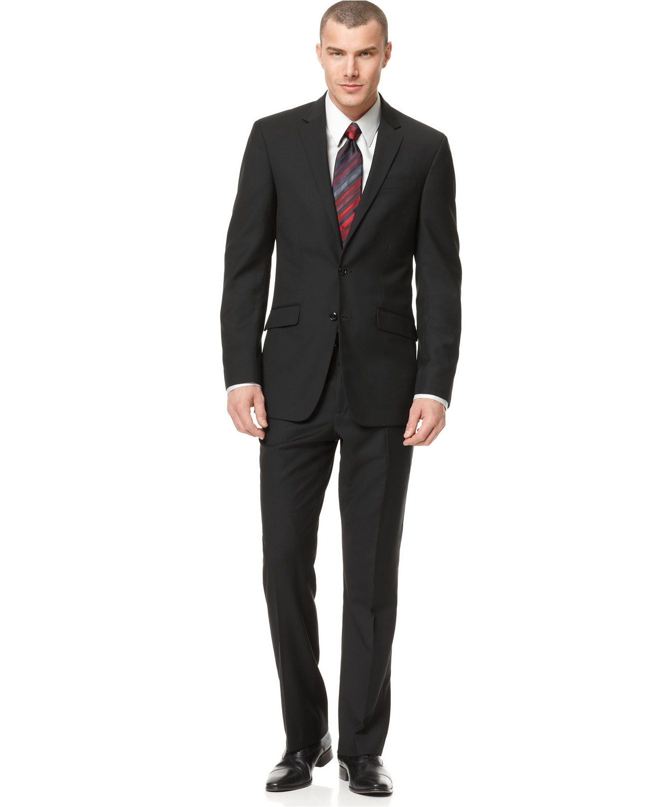 Kenneth Cole Reaction Black Solid Slim-Fit Suit - Suits   Suit Separates -  Men - Macy s c7ba14a9a