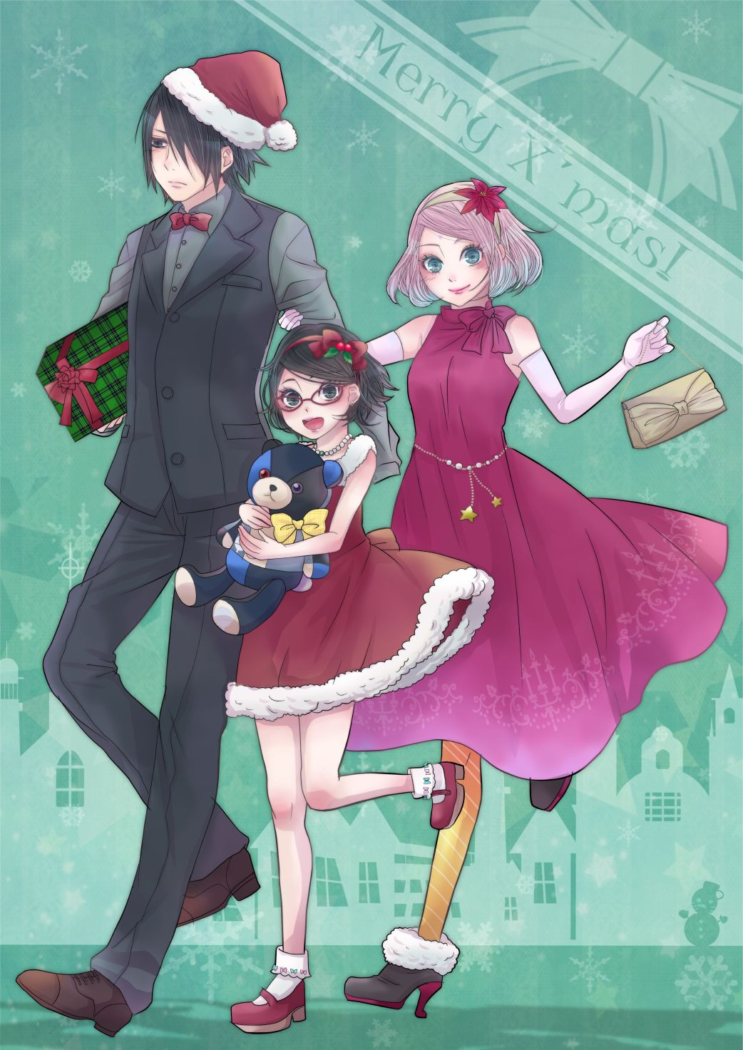 Sakura Christmas Party.Sasuke Sarada And Sakura Christmas Cool Sasuke Uchiha