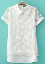 White Short Sleeve Hollow Lace Chiffon Blouse