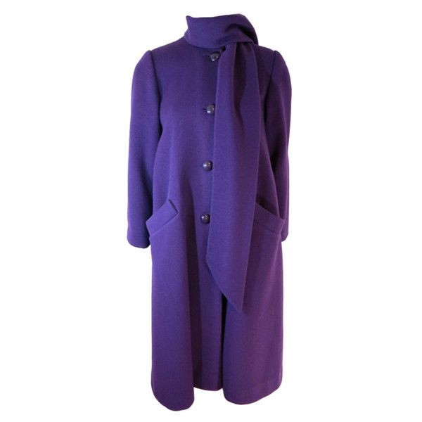 Vintage CHRISTIAN DIOR 1970's era purple scarf coat ❤ liked on Polyvore