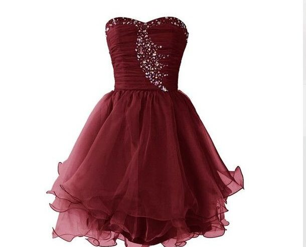 Lovely Chiffon Sweetheart Burgundy Maroon Short Prom Dresses ...
