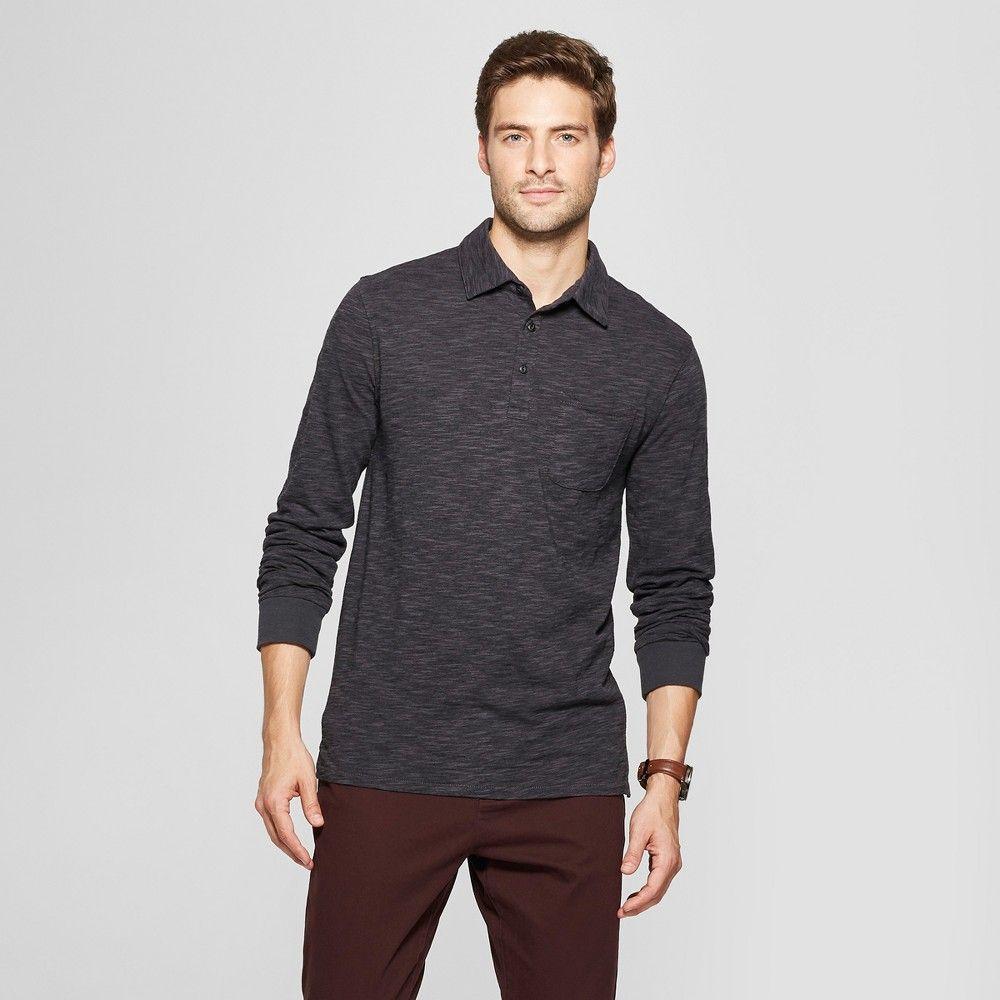 dd30927cfa9 Men's Striped Standard Fit Long Sleeve Jersey Polo Shirt - Goodfellow & Co  Black 2XL