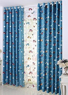 fadfay cute cars cartoon navy blue curtain drapes kids blackout curtains 2 panels