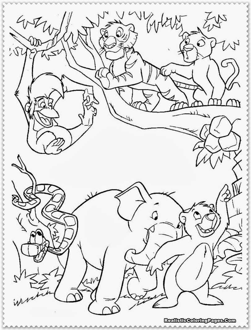 Printable coloring pages jungle - Coloring Pictures Jungle Animals