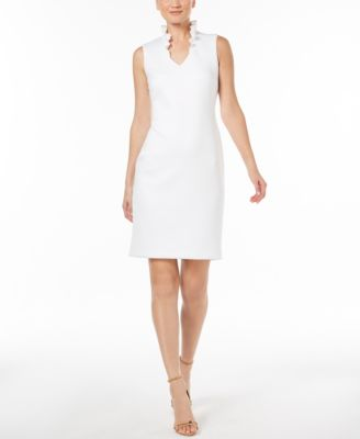 b08aaae33b25 Calvin Klein Ruffled-Collar Scuba Sheath Dress | Products | Ruffle ...