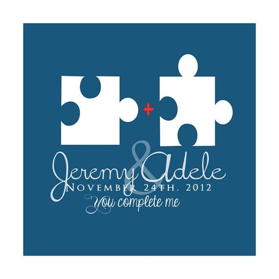 Puzzle Pieces Custom Wedding Art Gift 8x10 by WanderingFables, $18.99