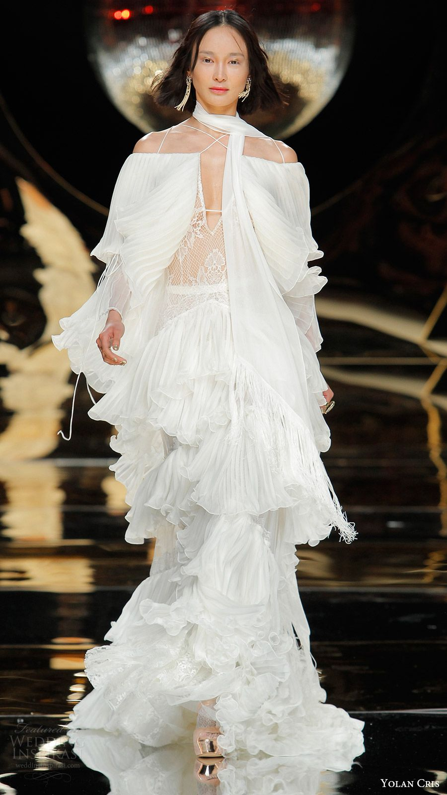 yolan cris bridal 2017 tiered pleated wedding dress (03) mv 8040f6a215