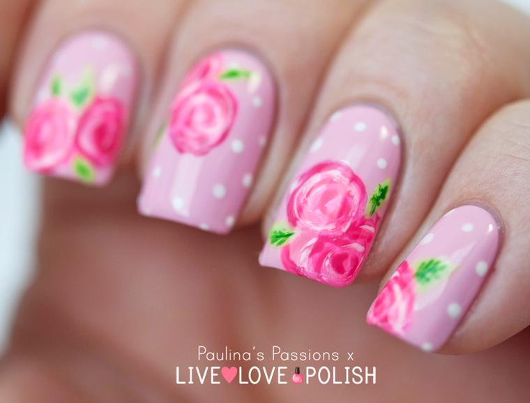 pink floral rose nail art