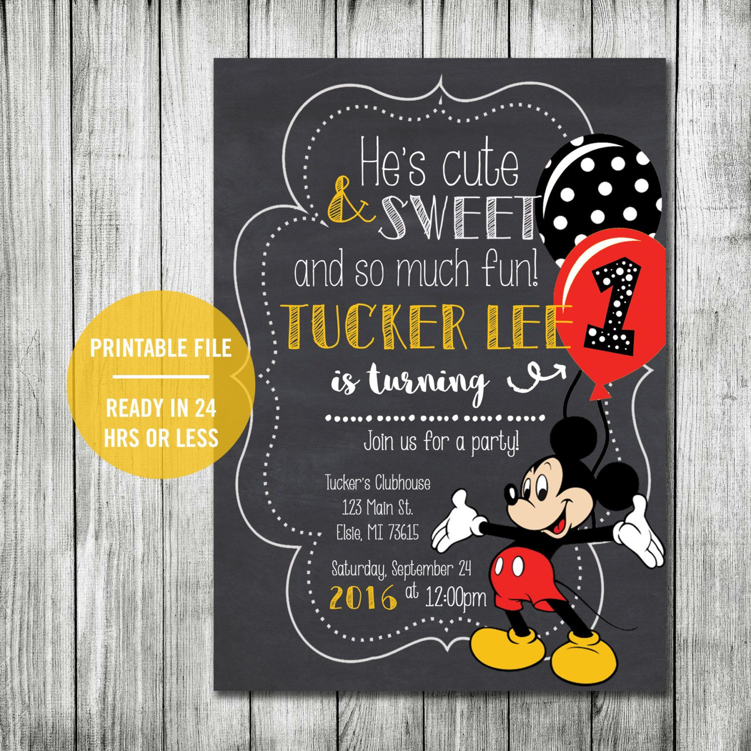 Mickey Mouse Birthday Party Invitation Printable or Printed, Kid's Birthday Invitation, Mickey First Birthday Party, Disney Themed Birthday