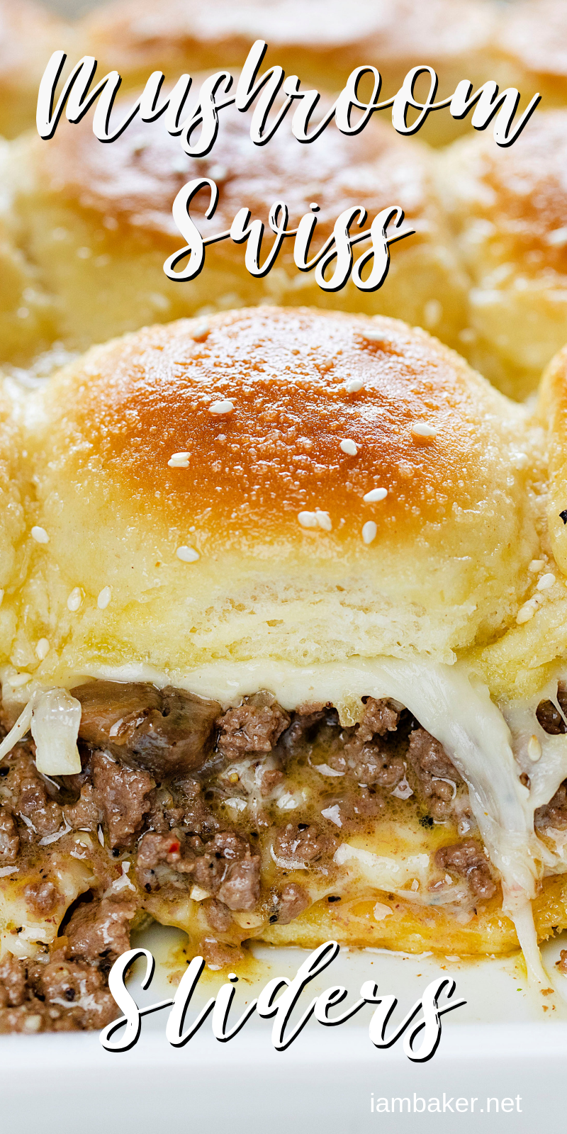 These Mushroom and Swiss Sliders are a unique spin on a traditional Mushroom and Swiss Burger, made with a sweet buttered dinner roll, perfectly seasoned ground beef and a savory Swiss cheese sauce that will leave you wanting more!