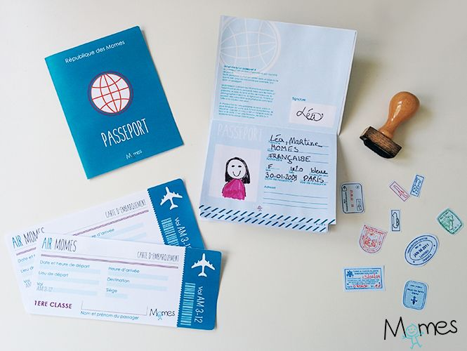 Billet Avion Factice Passeport Pour Enfant