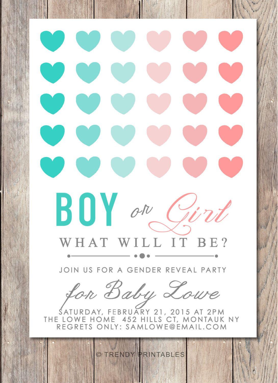 Gender Reveal Invitation, Gender Reveal Party, Gender Reveal, Boy ...