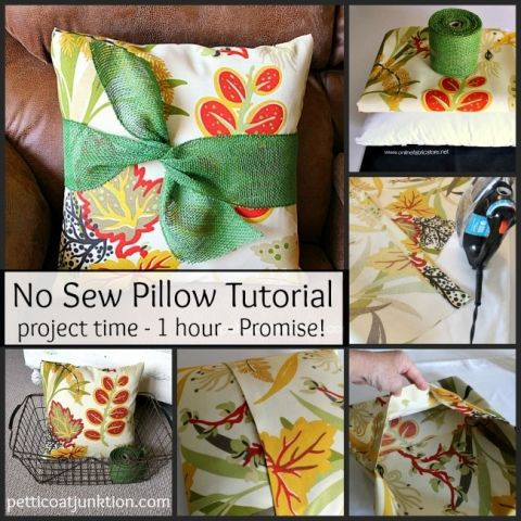 No Sew Pillow Tutorial Diy Tour A Giveaway Sewing Sewing