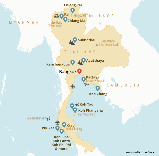 places traveled map best places to visit in thailand travel guide updated