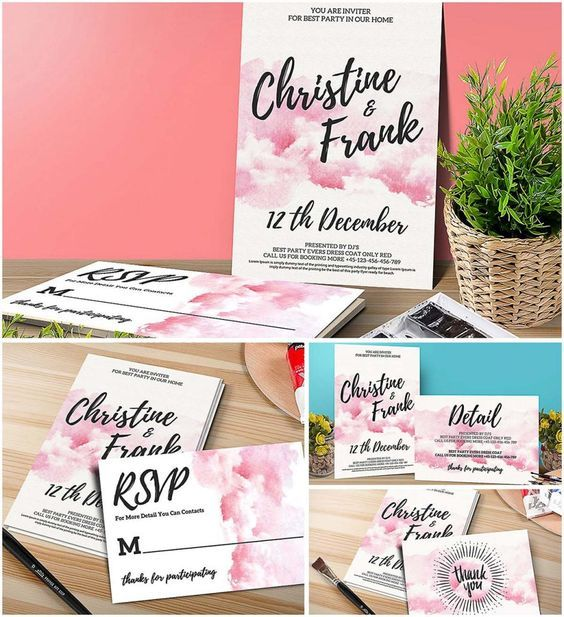 Free printable and free download Beautiful Pinky Watercolor - free rsvp card template