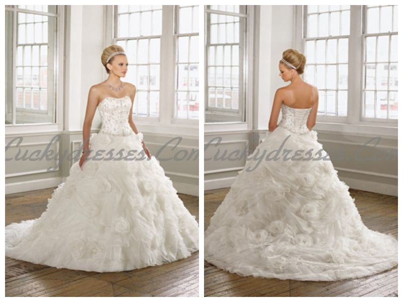 ORGANZA STRAPLESS NECKLINE LUXURY BODICE A LINE RUFFLES AND FLOWER WEDDING DRESSES