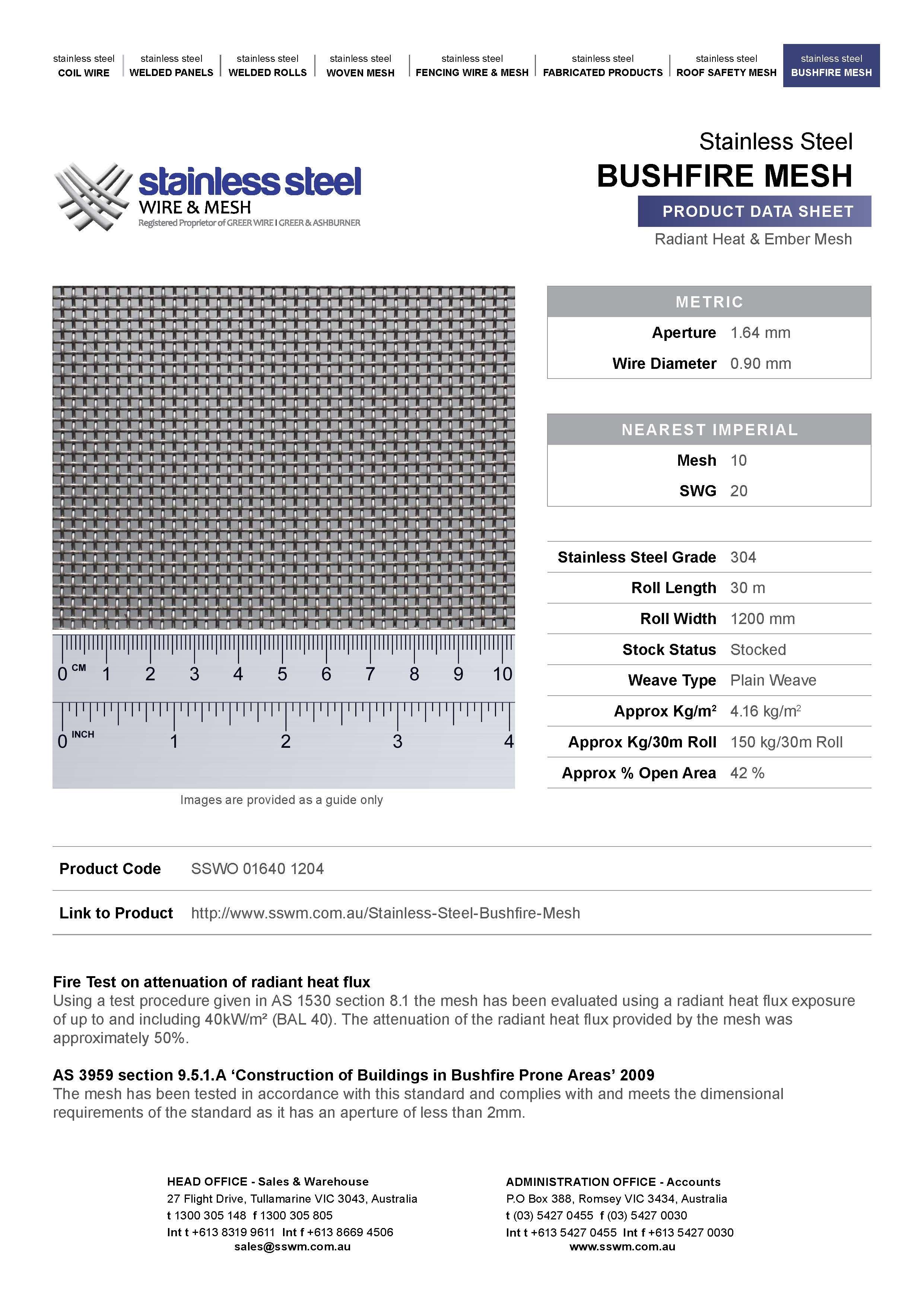 Bushfire mesh data sheet | Stainless Steel Bushfire Protection ...