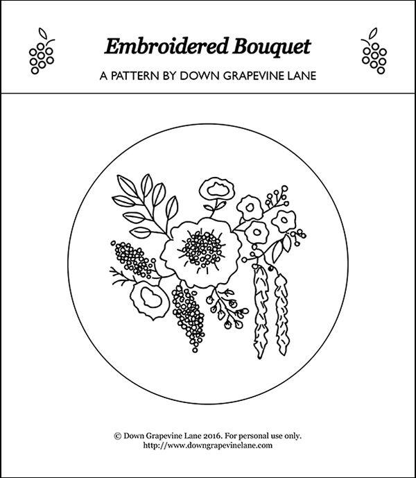 Down Grapevine Lane: Embroidered Bouquet Tutorial   La maquina de ...