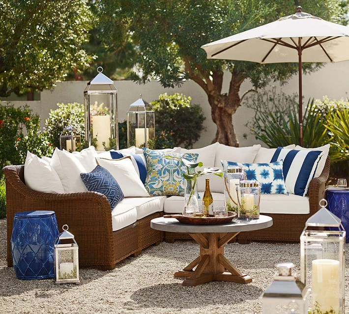 Build Your Own Torrey All Weather Wicker Roll Arm Sectional