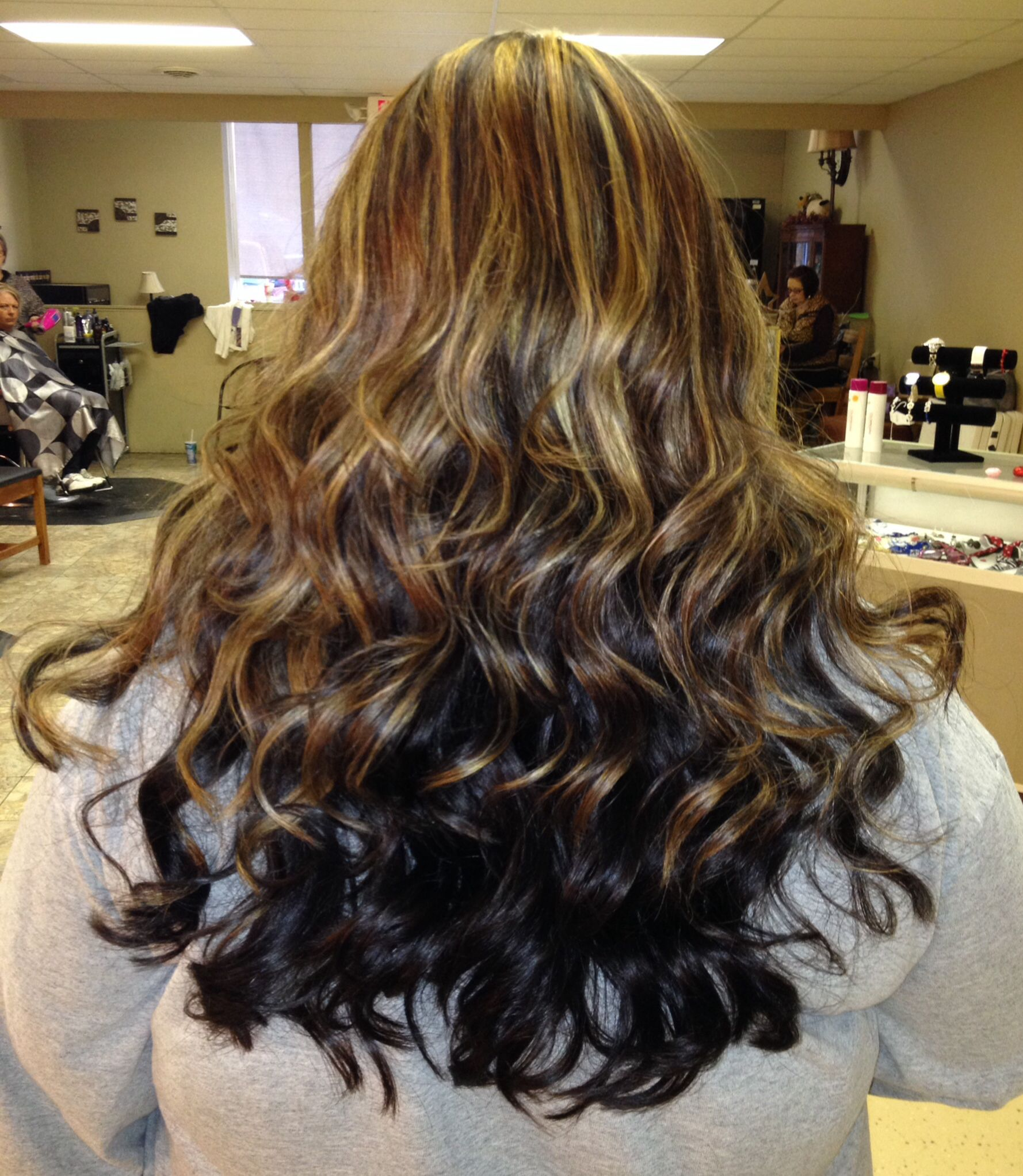 Caramel Highlights With A Dark Gold Based Brown Underneath
