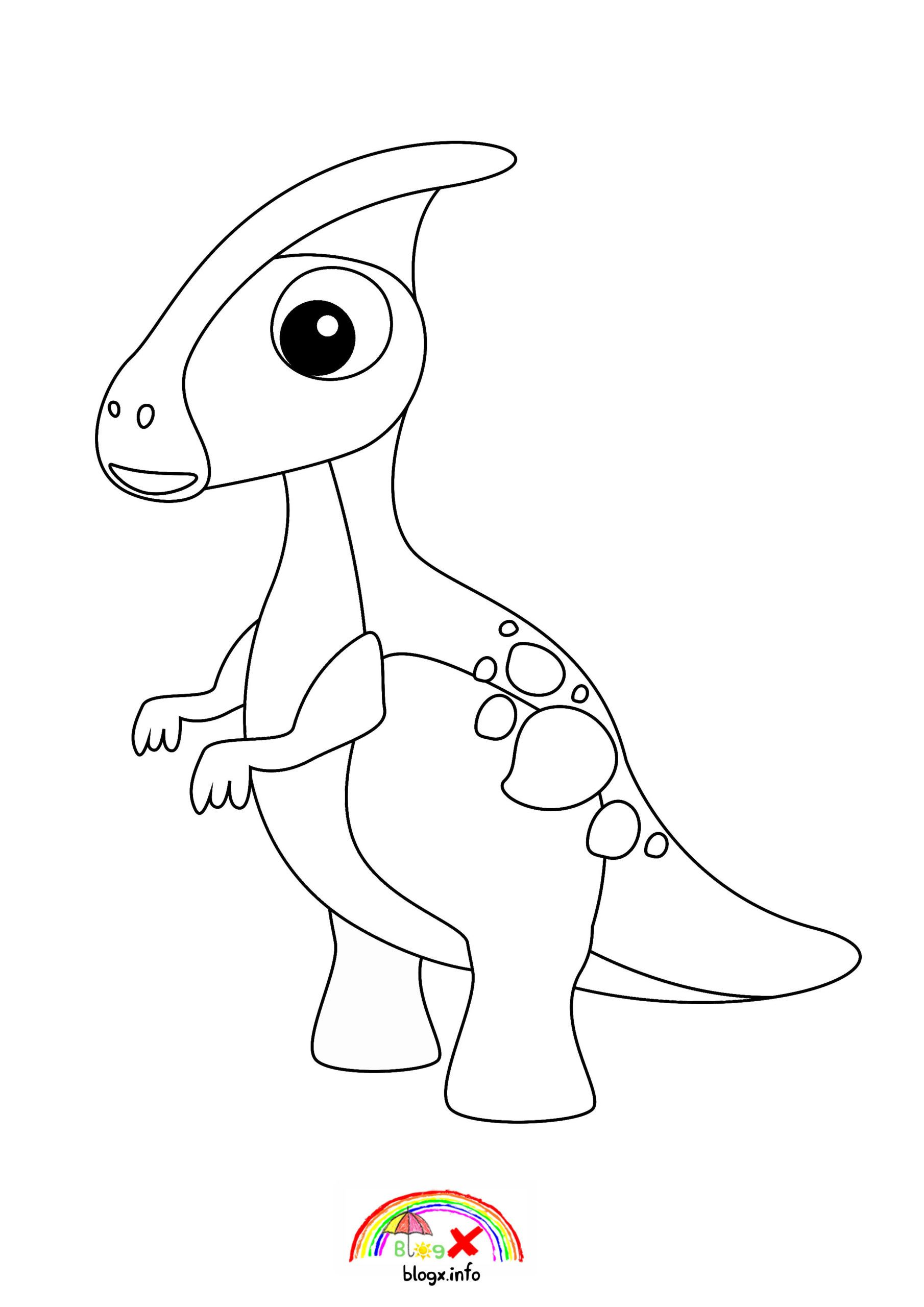 Baby Dinosaurs Parasaurolophus Coloring Page Di 2020