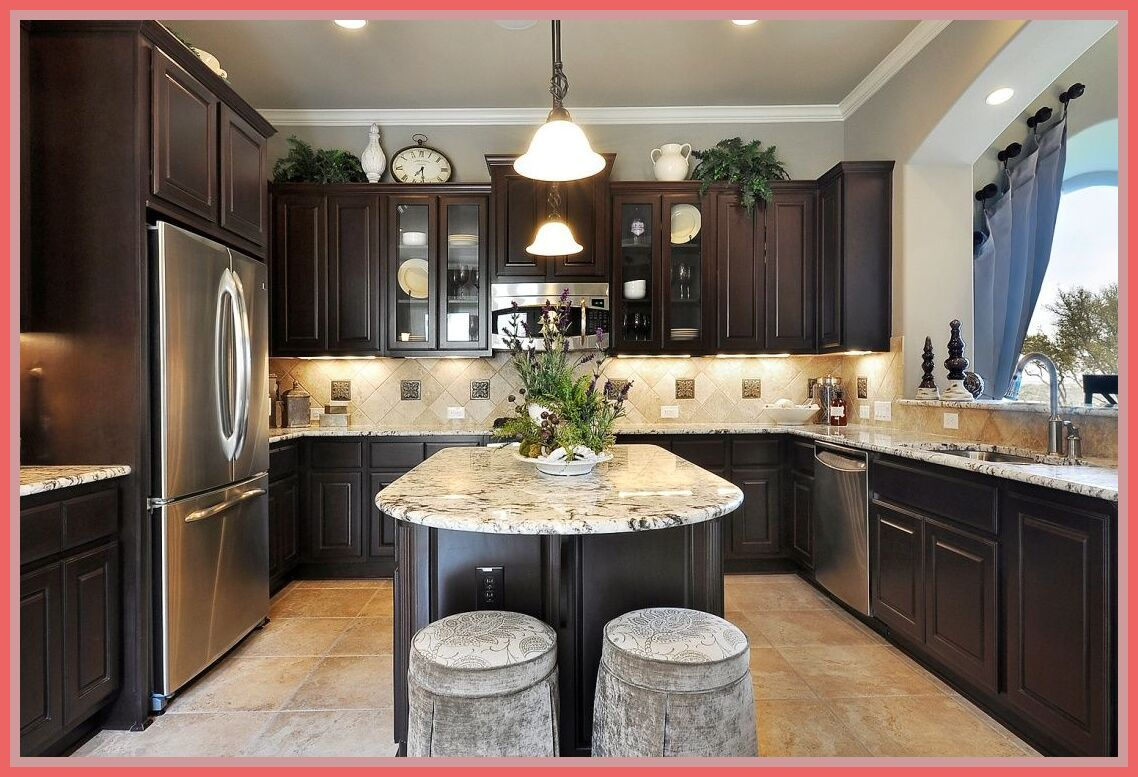 42 Reference Of Brown Kitchen Cabinets With Light Countertops In 2020 Trendy Kitchen Tile Trendy Kitchen Backsplash Kitchen Layout