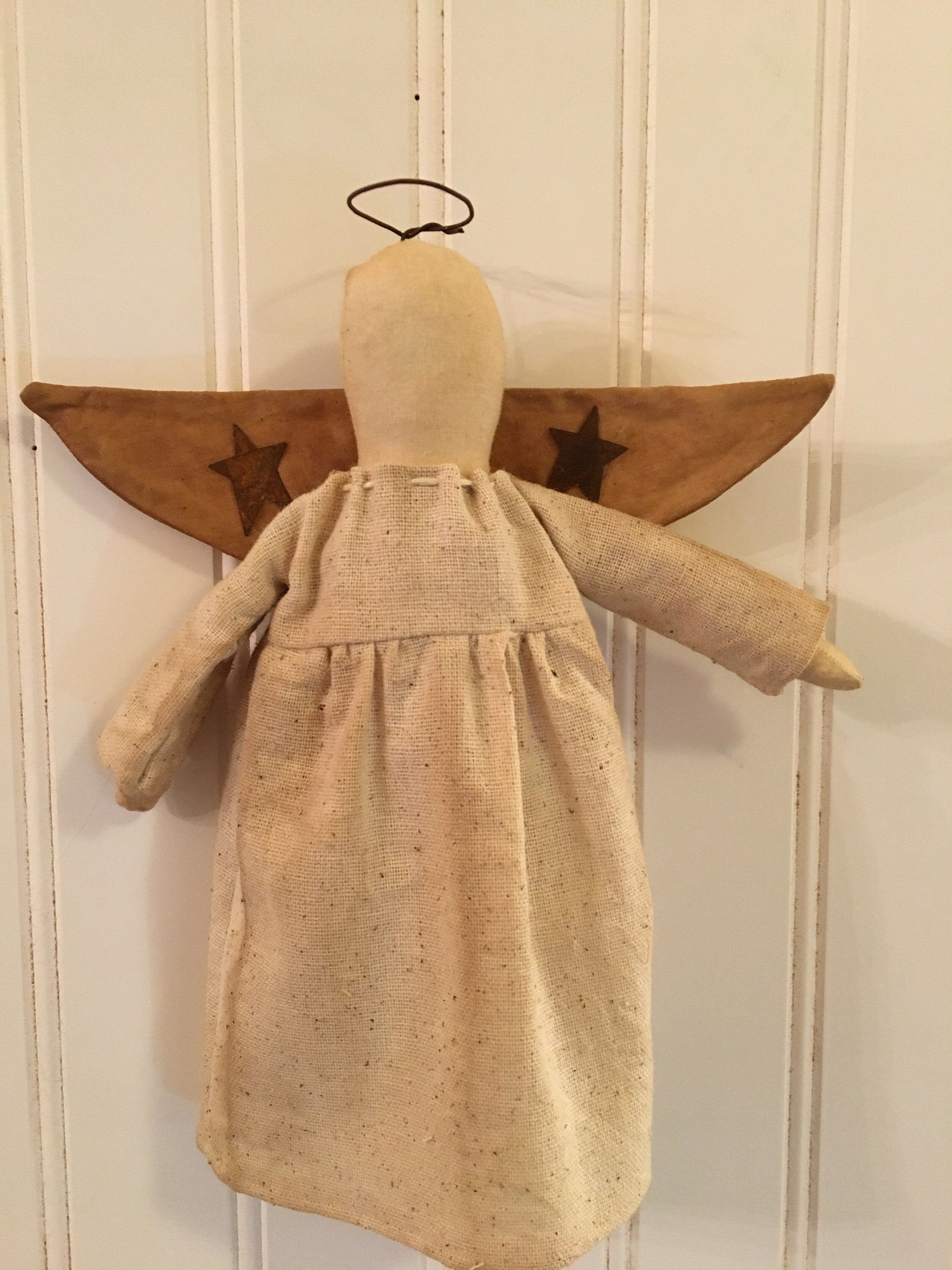 Primitive Farmhouse Christmas Tree Topper Angel Ornament
