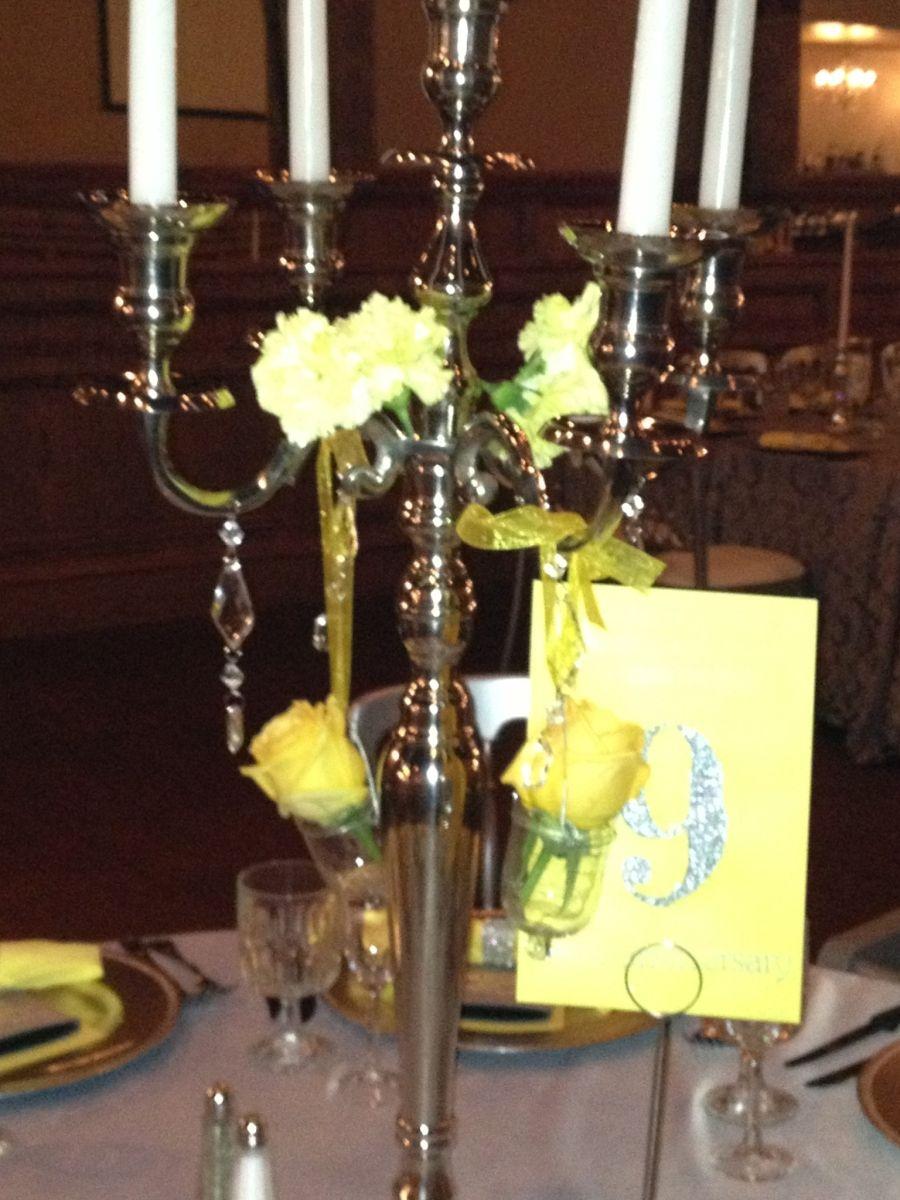 Chandelier candelabra centerpiece elegant wedding centerpiece with chandelier candelabra centerpiece elegant wedding centerpiece with yellow roses victorian style wedding arubaitofo Image collections