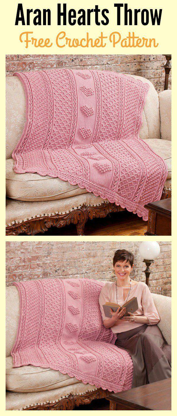 Aran Hearts Throw Free Crochet Pattern | Tapetes tejidos, Colchas ...