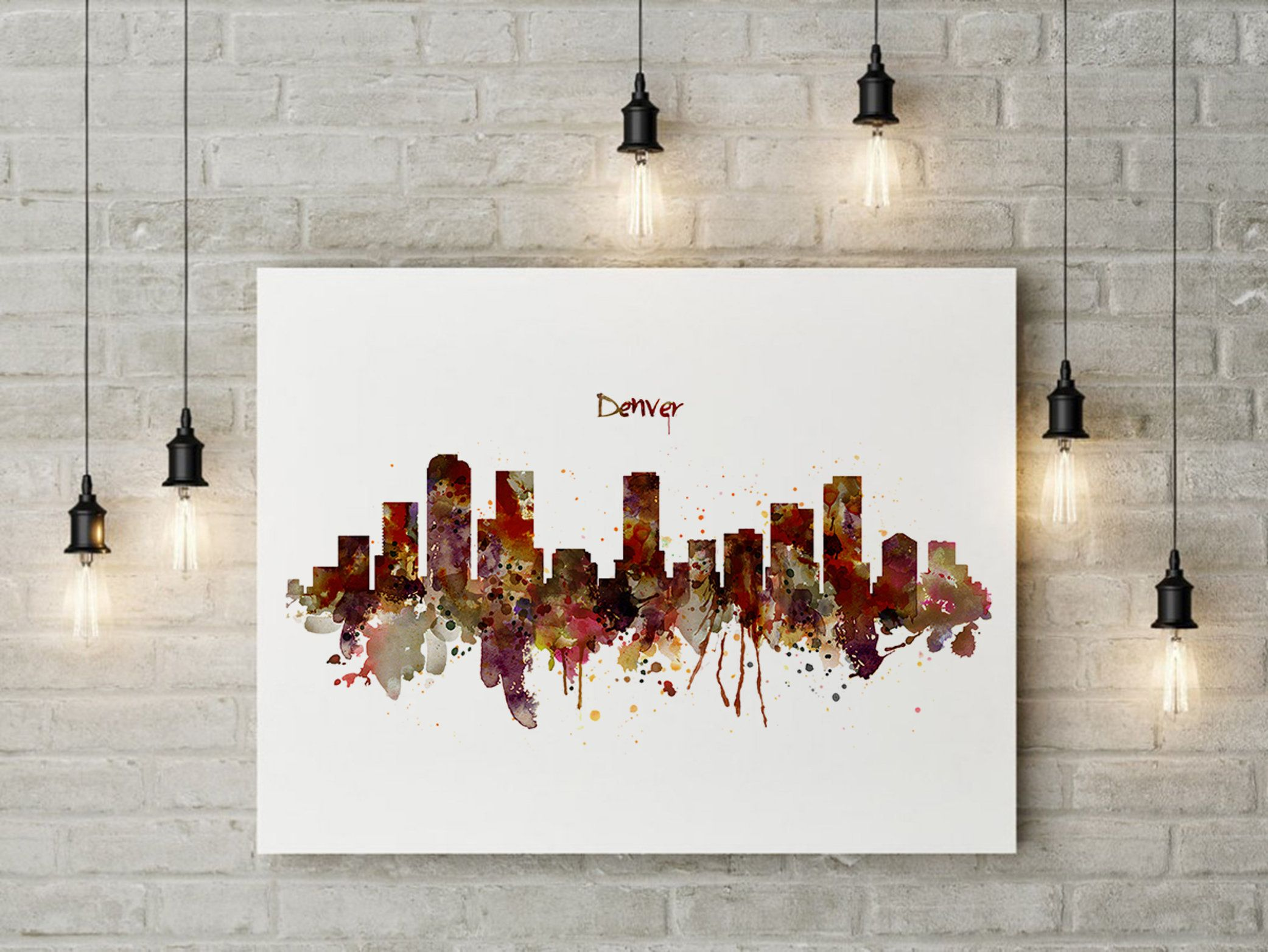 Watercolor Painting Of Denver Skyline Instant Download