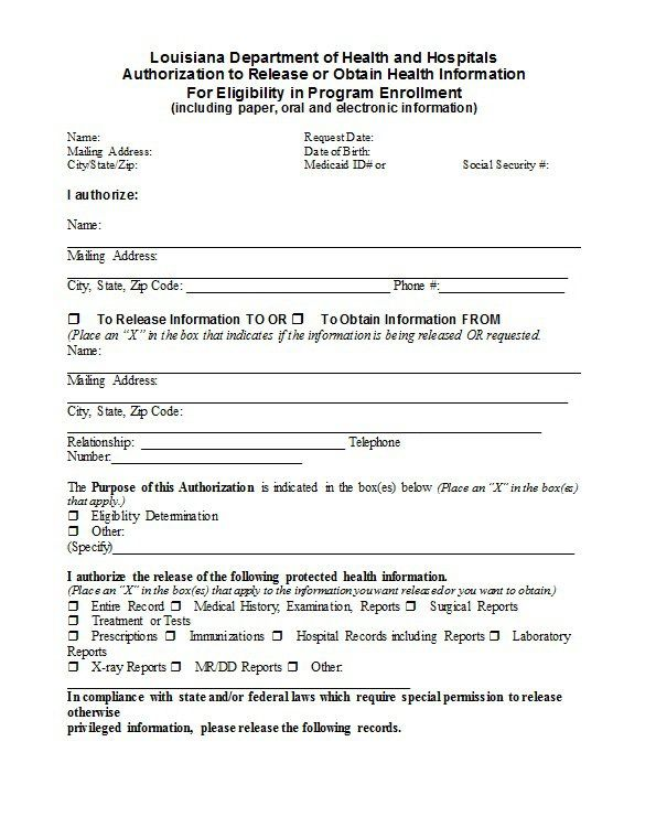 Medical Release Form Template - 30+ Medical Release Form Templates ...