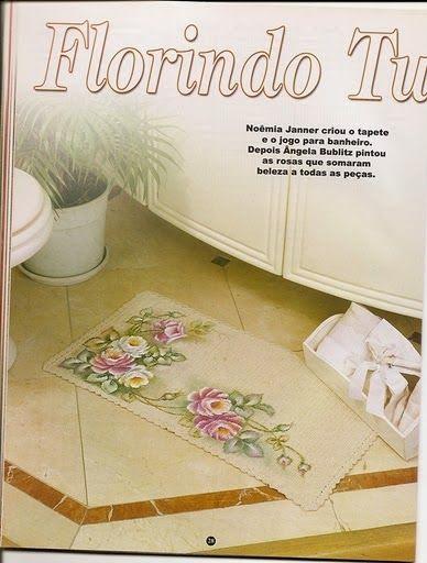 Maria Chike: Jogo de Banheiro de Crochê e com Pintura