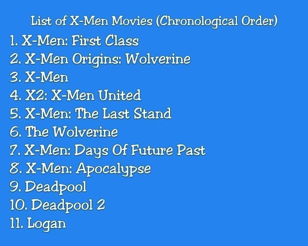 Chronological Movies Order Movie Xmen List Ofchronological Order List List Of X Men Movieschronological Order Li Man Movies Marvel Movies In Order X Men