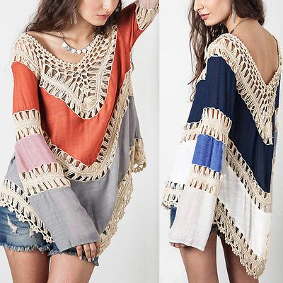 Sexy V Neck Backless Hollow Crochet Splice Loose Top Blouse T Shirt Plus Size