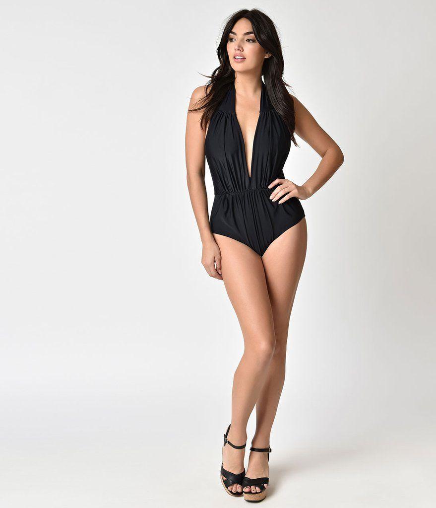 3d2bb3a76aa Unique Vintage Black Halter Shirred Derek One Piece Swimsuit | Retro ...